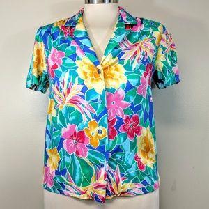 Vintage 80's Tropical Print Top